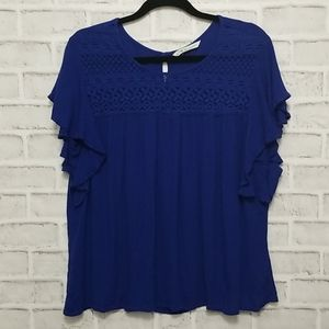 3/$20 Cleo Petite Royal Blue Crochet Top
